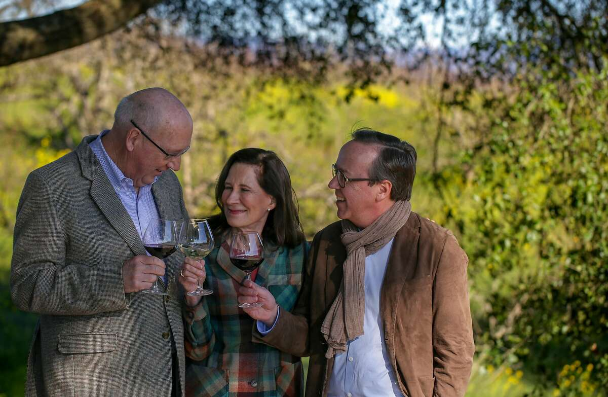 Merry Edwards (center) and husband Ken Coopersmith (left) sold Merry Edwards Winery to Louis Roederer Champagne, whose president Frederic Rouzaud is on the right.