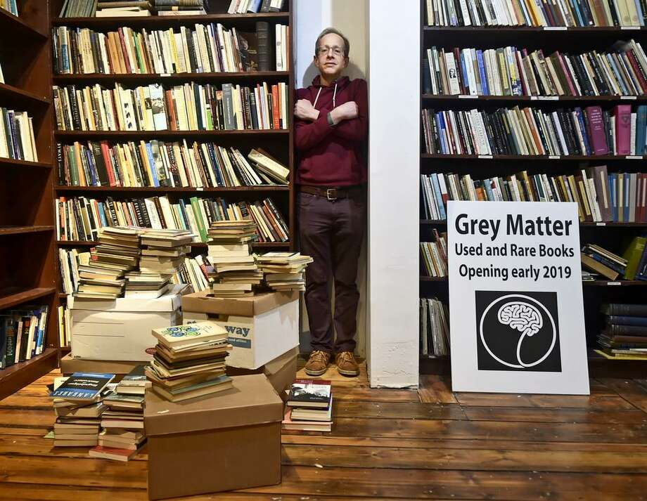 New Haven, Connecticut - Monday, February 18, 2019: Sam Burton, of Hadley, Ma., is opening up Grey Matter, a store selling used and rare books, at 264 York Street in New Haven. Photo: Peter Hvizdak / Hearst Connecticut Media / New Haven Register