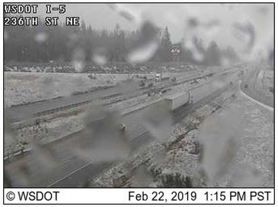 Snow dusted areas of Arlington Friday afternoon, as seen on a WSDOT traffic camera. Photo: Courtesy WSDOT