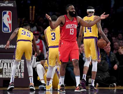 fff8ba5d2352 Rockets guard James Harden reacts after being called for a foul during his  team s loss to the Lakers on Thursday.