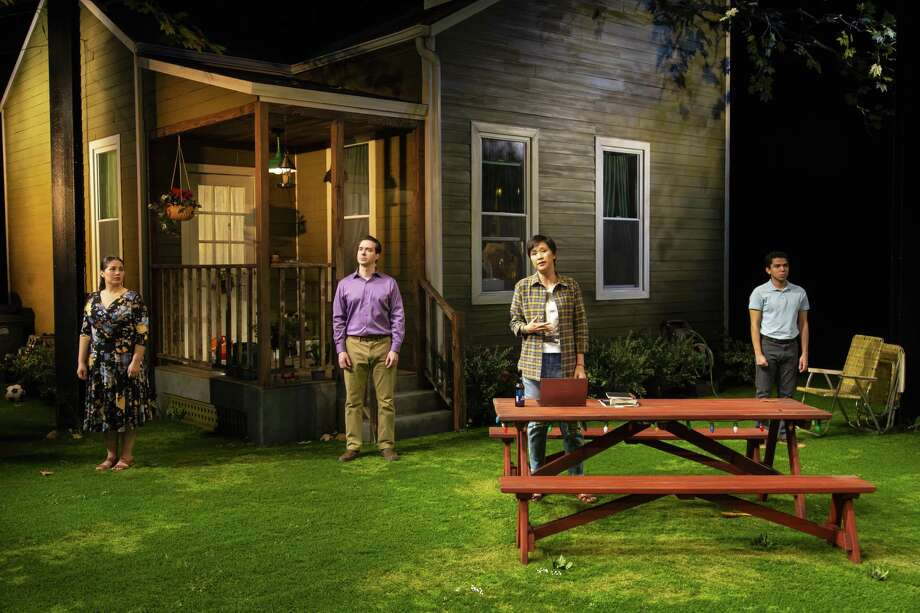 """From left, Elizabeth Ramos, Brian Sgambati, Cindy Cheung and Paul Pontrelli star in """"Tiny Beautiful Things."""" Photo: T. Charles Erickson / Long Wharf"""