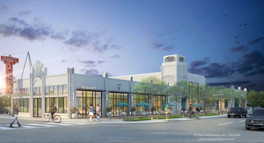Oxberry Group is redeveloping the Quality Laundry Building at 1110 West Gray into Rêve at Montrose. The two-story office and retail development will restore the exterior of the building to its original Art Deco design. Photo: Oxberry Group