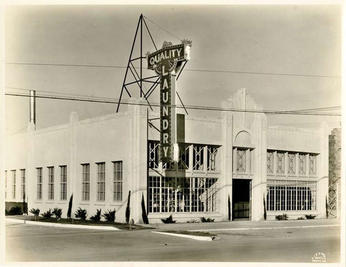 Quality Laundry was built in 1932 at West Gray and Montrose. Oxberry Group plans a redevelopment that will restore some Art Deco elements.