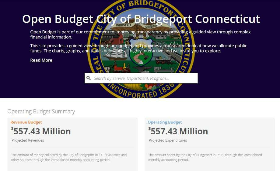 The City of Bridgeport Open Budget website, 2019. Photo: Contributed Photo / Contributed Photo / Connecticut Post Contributed