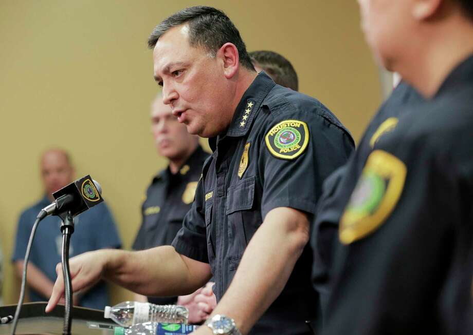 Houston Police Chief Art Acevedo talks to the media during a press conference at the police station on Friday, Feb. 15, 2019 in Houston. Chief Acevedo was updating the media on the investigation on the officer-involved shooting incident at 7815 Harding on January 28 that left the homeowners dead and some police officers injured. Photo: Elizabeth Conley, Houston Chronicle / Staff Photographer / © 2018 Houston Chronicle