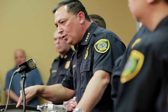 Houston Police Chief Art Acevedo talks to the media during a press conference at the police station on Friday, Feb. 15, 2019 in Houston. Chief Acevedo was updating the media on the investigation on the officer-involved shooting incident at 7815 Harding on January 28 that left the homeowners dead and some police officers injured.