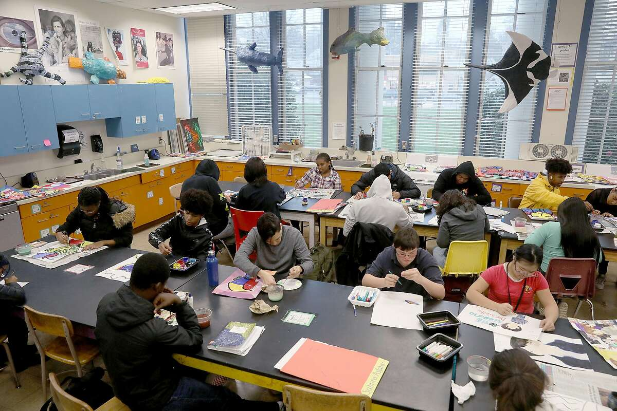 Overview of the the classroom of art teacher Deborah Green at Oakland Technical High School on Wednesday, Feb. 13, 2019, in Oakland, Calif.