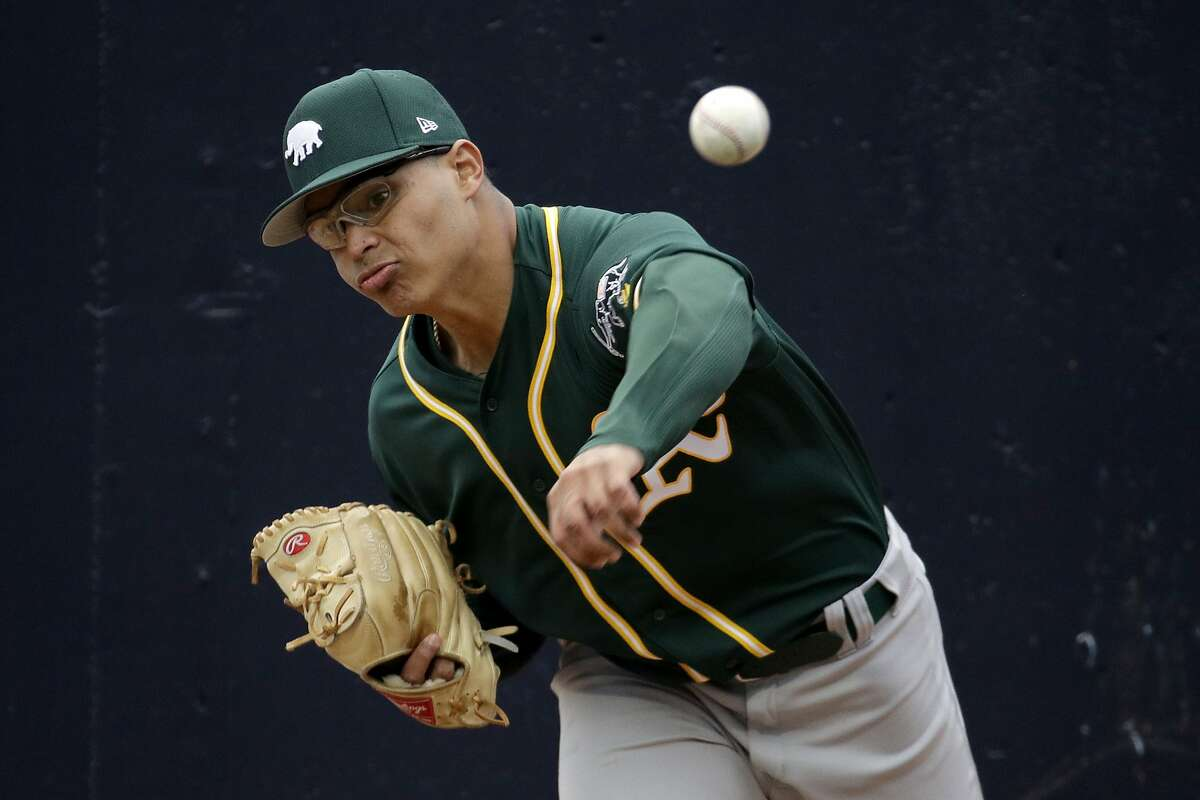 Oakland Athletics pitcher Jesus Luzardo warms up in the bullpen during the third inning of a spring training baseball game against the Seattle Mariners Friday, Feb. 22, 2019, in Peoria, Ariz. (AP Photo/Charlie Riedel)
