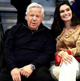 New England Patriots owner Robert Kraft, left, sits courtside during the pre-game festivities prior to the NBA All-Star Game at Spectrum Center in Charlotte, N.C. on Sunday, February 17, 2019. (Jeff Siner/Charlotte Observer/TNS)