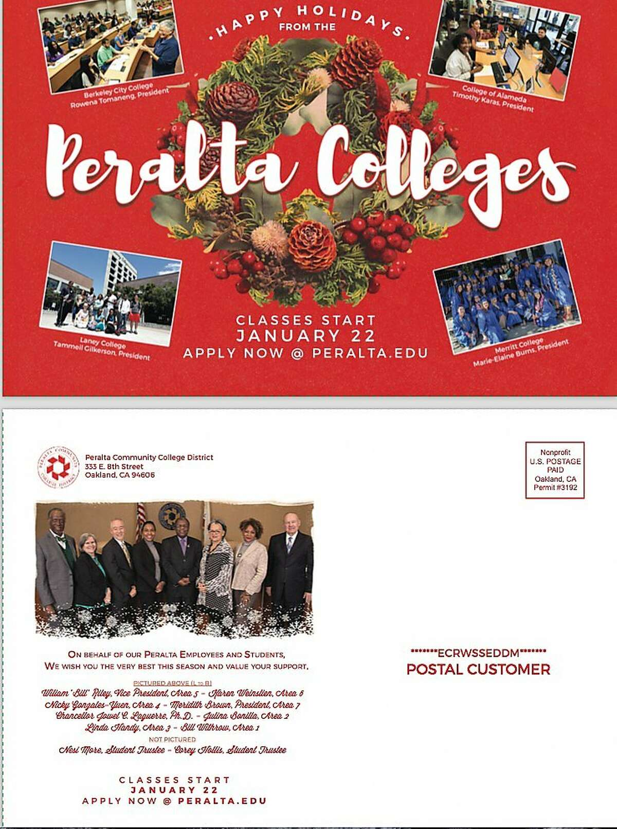 A state ethics commission fined the Peralta Community College District $2,000 for spending taxpayer money to send thousands of these holiday cards with images of the trustees and Chancellor Jowel Laguerre in 2017.
