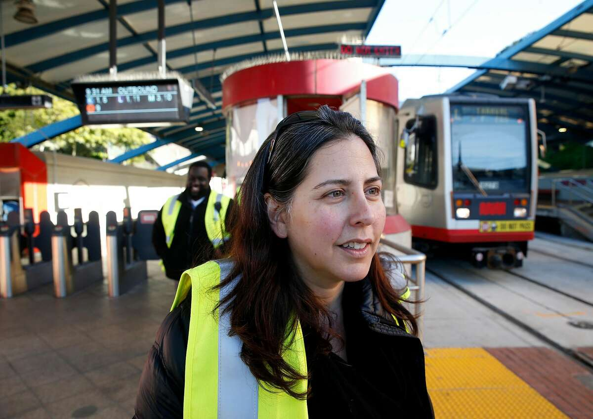 Julie Kirschbaum, the acting director of Muni, visits the West Portal transit station in San Francisco, Calif. on Friday, Feb. 22, 2019. Traffic officers have been assigned to the intersection of West Portal Avenue and Ulloa Street for the past few weeks to control the often congested flow of cars, trucks, buses and streetcars.