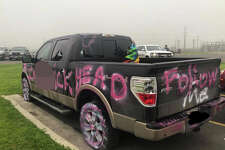 A baseball coach returned to his truck to find it covered in spray paint, with slashed tires and smashed windows.