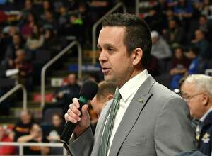 Robert Zayas, executive director of the NYSPHSAA welcome competitors for the New York State High School Wrestling Championships at the Times Union Center on Friday, Feb. 22, 2019 in Albany, N.Y. (Lori Van Buren/Times Union)