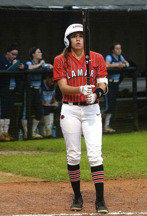 Lamar's Elizabeth Castillo gets ready to take her first at bat during their home opener against Rhode Island in the Cardinal Classic. Photo taken Thursday, February 22, 2019 Kim Brent/The Enterprise Photo: Kim Brent, The Enterprise / BEN