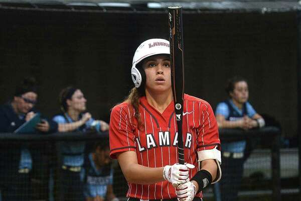 Lamar's Elizabeth Castillo gets ready to take her first at bat during their home opener against Rhode Island in the Cardinal Classic. Photo taken Thursday, February 22, 2019 Kim Brent/The Enterprise