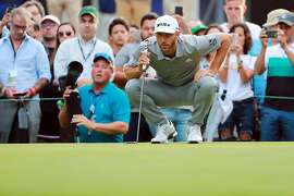 MEXICO CITY, MEXICO - FEBRUARY 22: Dustin Johnson of the United States lines up a putt on the 18th green during the second round of World Golf Championships-Mexico Championship at Club de Golf Chapultepec on February 22, 2019 in Mexico City, Mexico. (Photo by Hector Vivas/Getty Images)