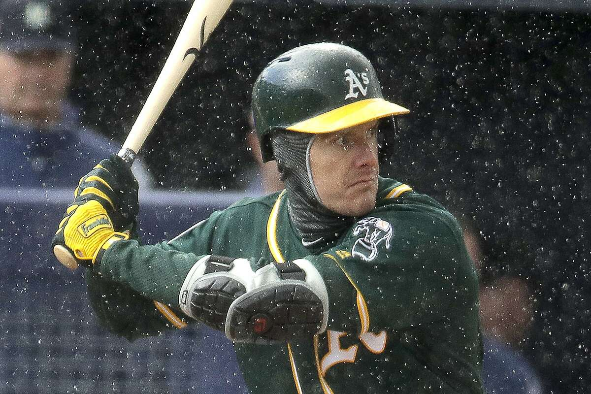 Oakland Athletics' Mark Canha waits in the rain for a pitch during the first inning of a spring training baseball game against the Seattle Mariners Friday, Feb. 22, 2019, in Peoria, Ariz. (AP Photo/Charlie Riedel)