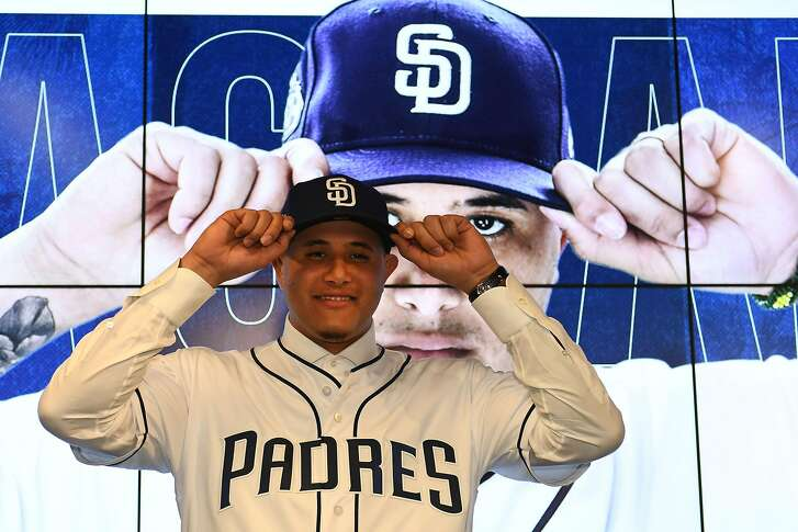 PEORIA, ARIZONA - FEBRUARY 22: Manny Machado #8 of the San Diego Padres poses for a photo during a press conference at Peoria Stadium on February 22, 2019 in Peoria, Arizona. (Photo by Jennifer Stewart/Getty Images)