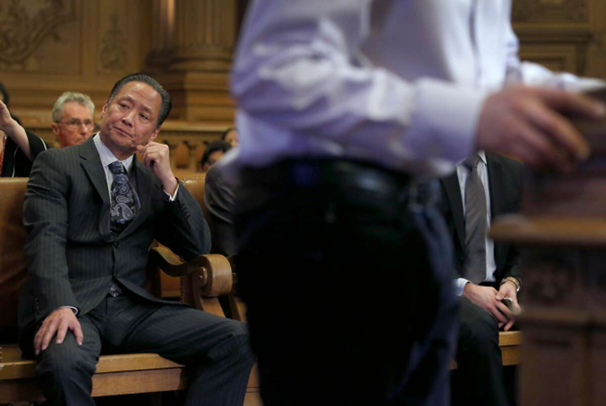 Public Defender Jeff Adachi listens to the public commentary session at a meeting of the Budget and Finance Sub-Committee at City Hall in San Francisco, Calif. on Thursday, March 2, 2017.