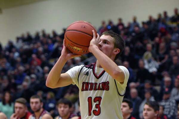 Glens Falls' Trenton Girard takes a shot at the basket during the Class B boys' basketball quarterfinals against Johnstown on Friday, Feb. 22, 2019 at the McDonough Complex in Troy, NY. (Phoebe Sheehan/Times Union)