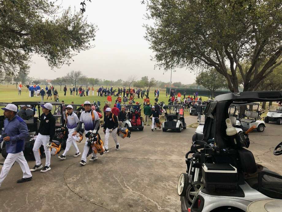 The 27th Border Olympics boys' golf tournament opened Friday at the Laredo Country Club. St. Augustine is second in the team standings and has Marcelo Garza and Horacio Perez a stroke back of first place individually following the opening round. Photo: Courtesy Photo