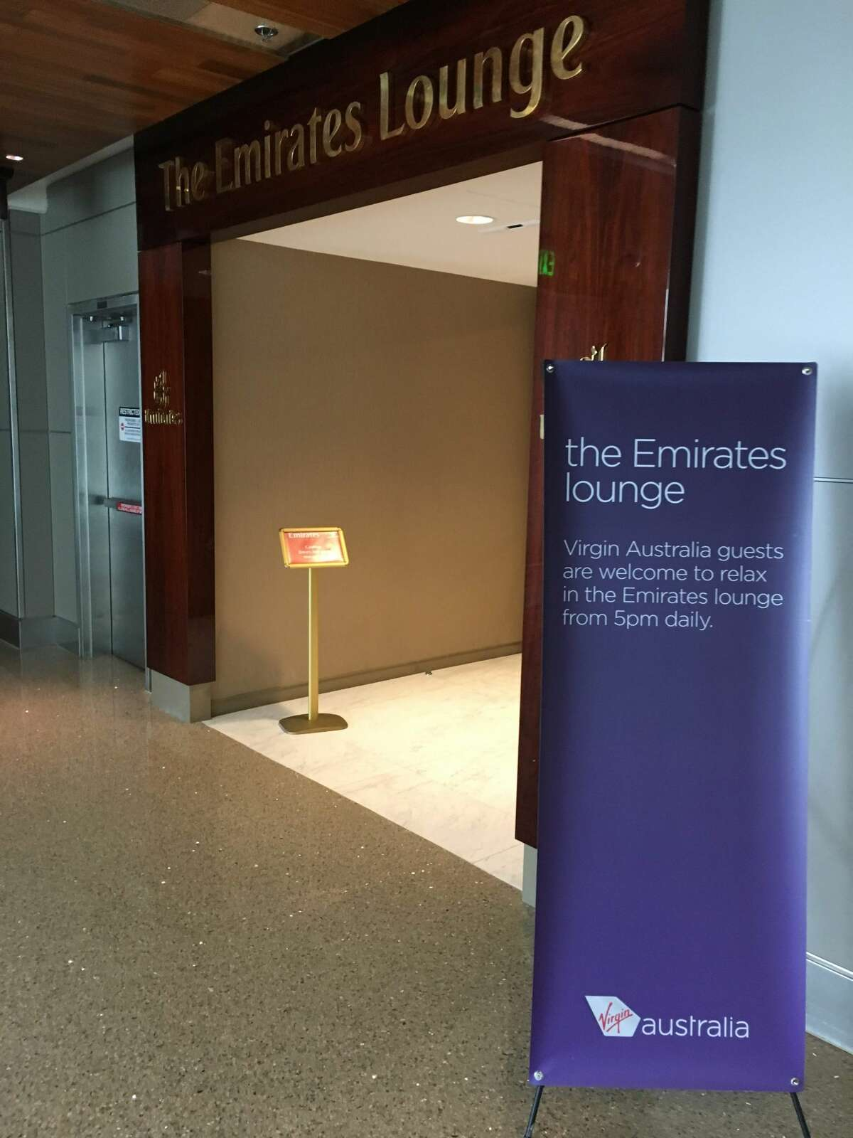 Entrance to the Emirates Business Class lounge at Los Angeles International Airport