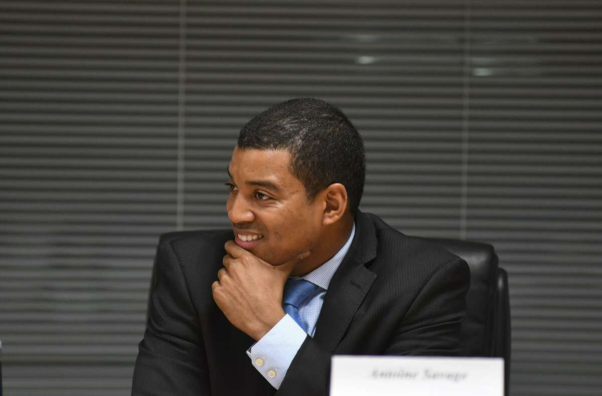 Board of Education member Antoine Savage (pictured here at a 2016 forum) was absent from a board meeting in Stamford, Conn. on Feb. 14, 2019 where the board voted on the 2019-2020 school budget.