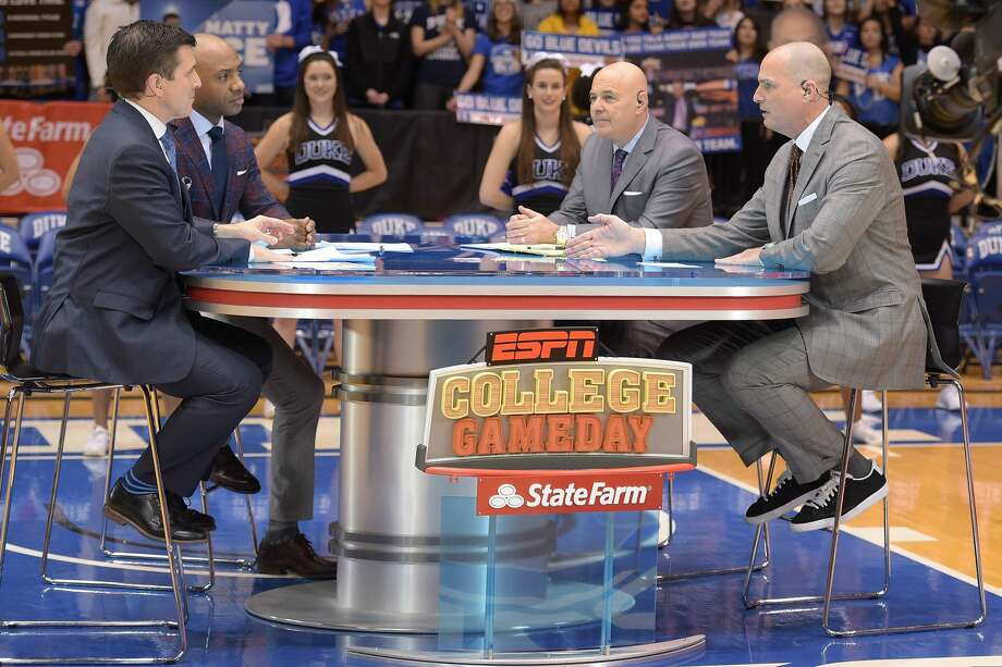 """PHOTOS: UH vs. UCLA - Game of the Century DURHAM, NC - MARCH 05: The ESPN College GameDay crew (L-R) Rece Davis, Jay Williams, Seth Greenberg and Jay Bilas broadcast ahead of the game between the North Carolina Tar Heels and the Duke Blue Devils at Cameron Indoor Stadium on March 5, 2016 in Durham, North Carolina. The popular pregame college basketball show will make its first appearance at the University of Houston on March 2 prior to the Cougars' game against Central Florida. (Photo by Lance King/Getty Images) >>>Relive moments from Houston vs. UCLA, the """"game of the century"""" ... Photo: Lance King/Getty Images"""