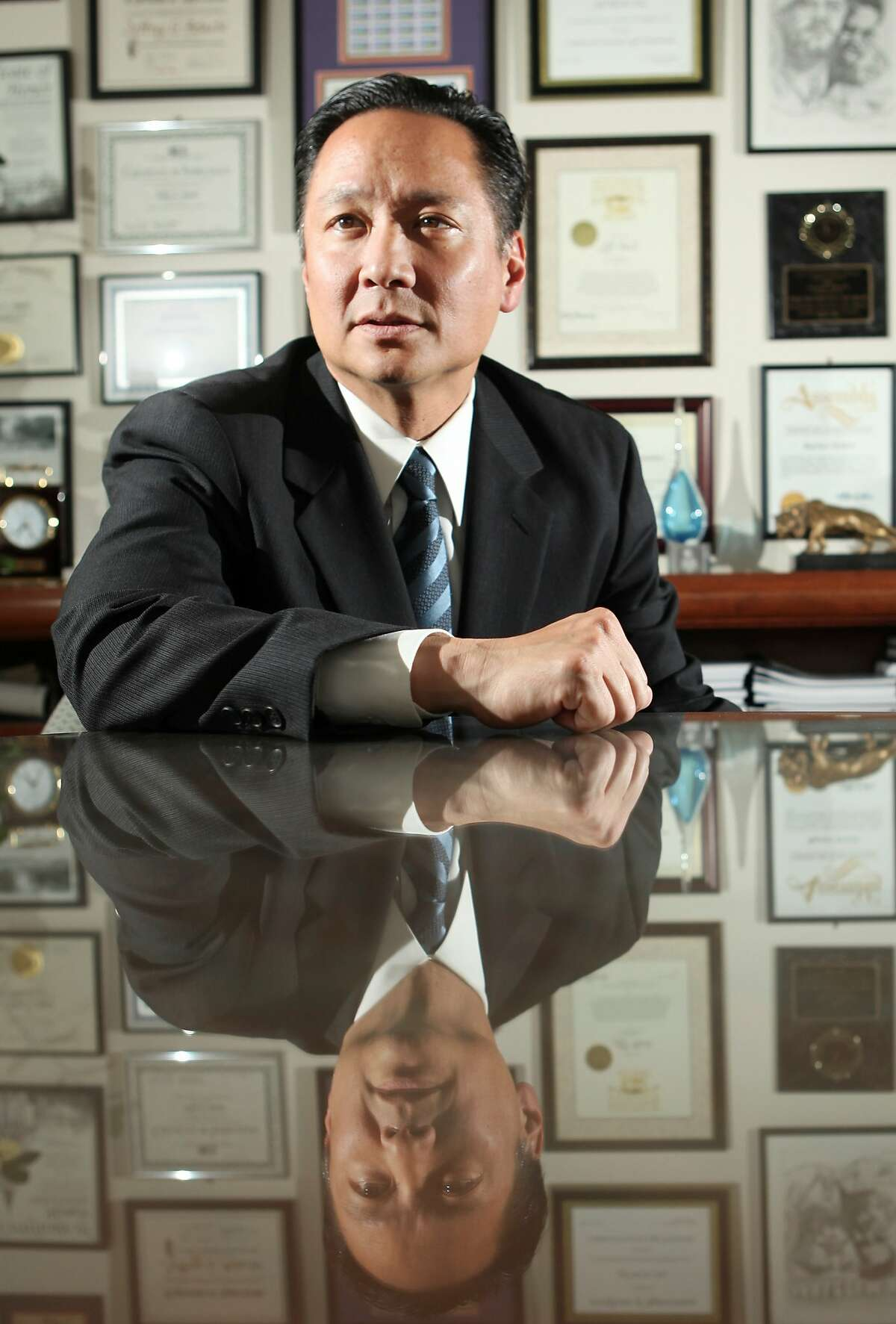 In this photo from Tuesday, June 9, 2009, San Francisco Public Defender Jeff Adachi is photographed at his office in San Francisco. (AP Photo/Jeff Chiu)