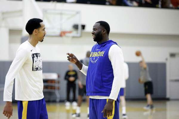 080ed9252c34 1of2Golden State Warriors  Shaun Livingston (left) and Draymond Green  converse during basketball practice at the Rakuten Performance Center in  Oakland