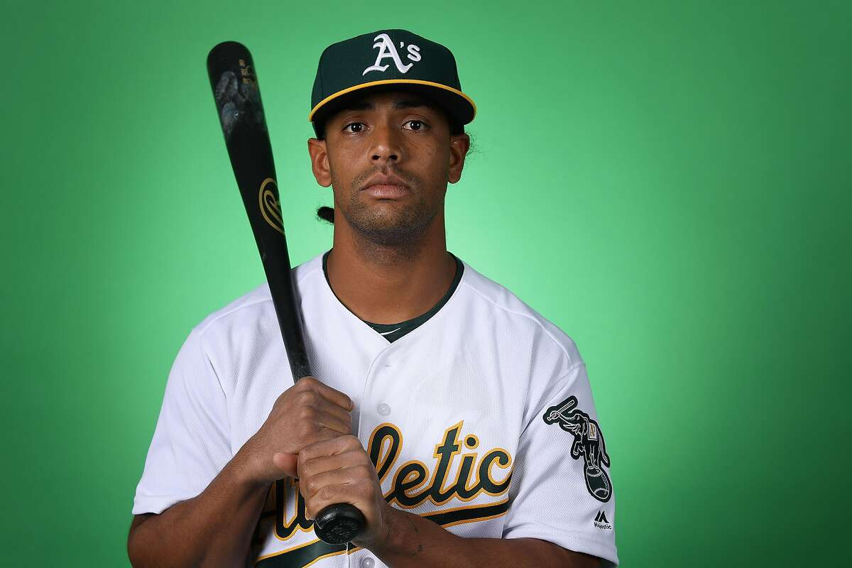 MESA, ARIZONA - FEBRUARY 19: Khris Davis #2 of the Oakland Athletics poses for a portrait during photo day at HoHoKam Stadium on February 19, 2019 in Mesa, Arizona. (Photo by Christian Petersen/Getty Images)