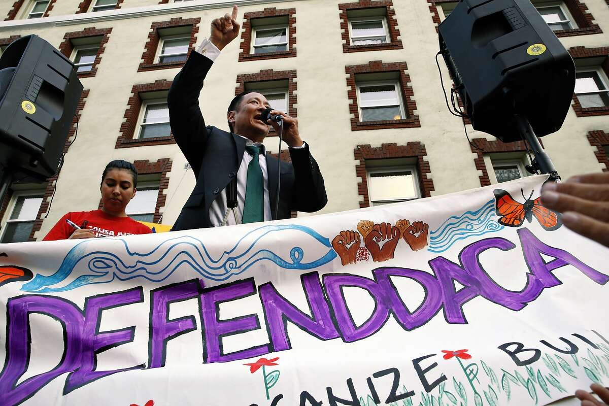 San Francisco Public Defender Jeff Adachi during a protest outside the San Francisco Federal Building on Tuesday, Sept. 5, 2017, in San Francisco, Calif. Demonstrators rallied in support of the Deferred Action for Childhood Arrivals (DACA) program, which the Trump administration said will phase out in six months.
