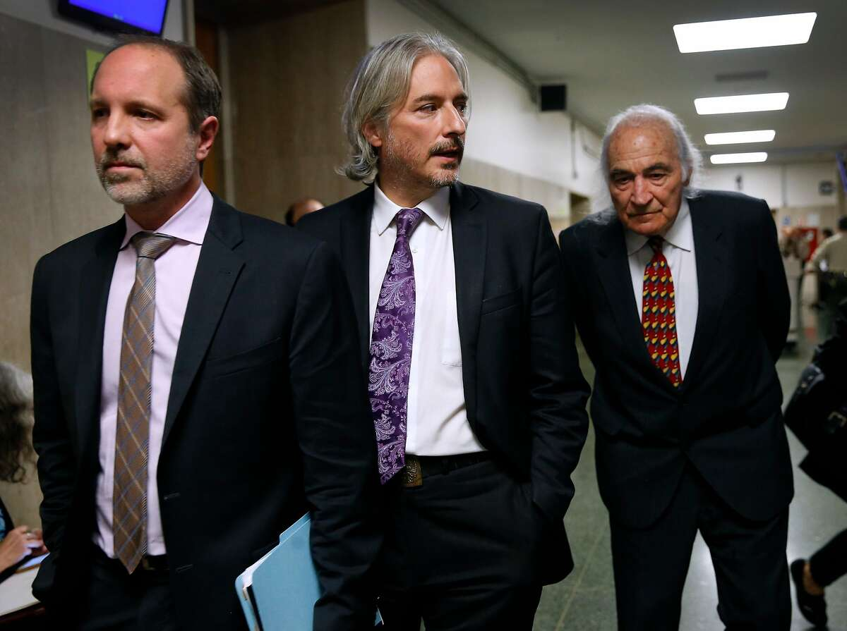 Francisco Ugarte (left) and Matt Gonzalez, both attorneys in the Public Defender�s office, leaves the Department 13 courtroom with defense attorney Tony Serra (right) after the sentencing hearing for Jose Inez Garcia Zarate at the Hall of Justice in San Francisco, Calif. on Friday, Jan. 5, 2018. Serra will represent Garcia Zarate in the federal charges against him.