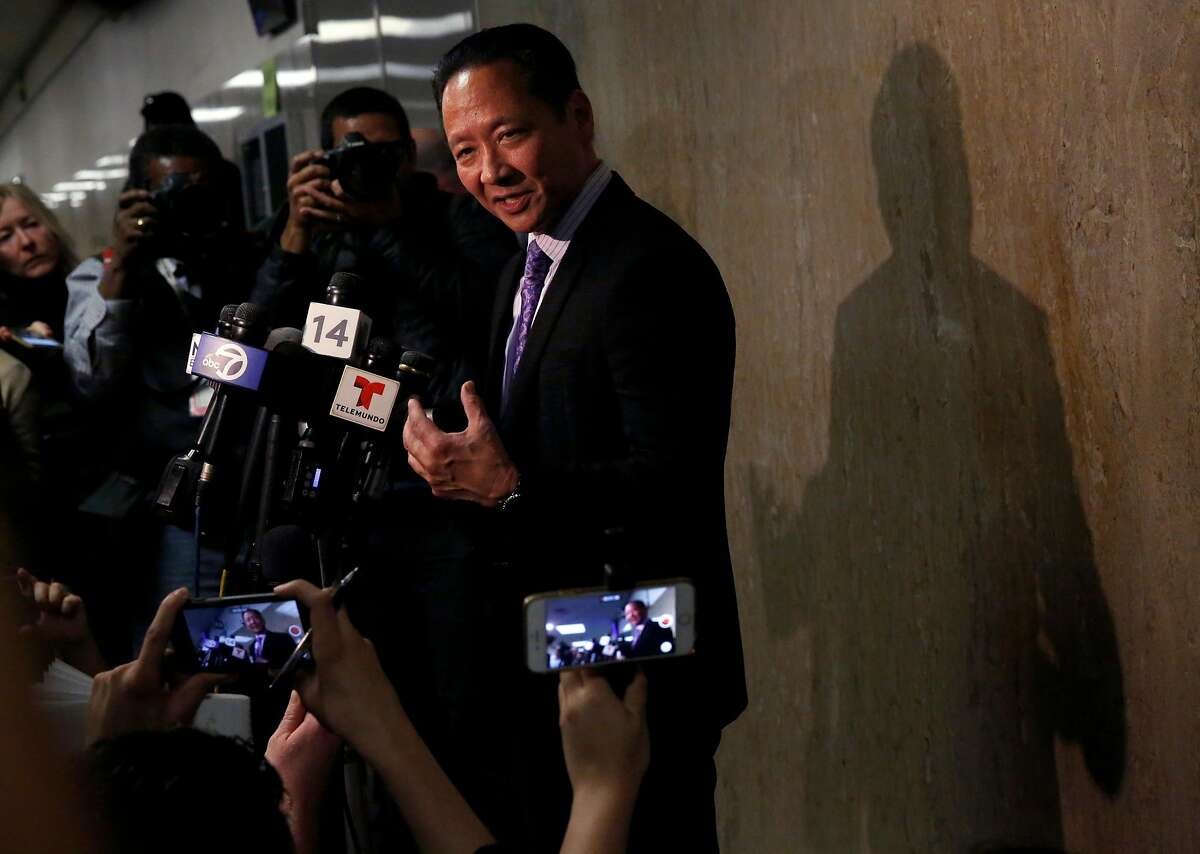 San Francisco Public Defender Jeff Adachi, addresses the press outside of the courtroom after Jose Ines Garcia Zarate was found not guilty in the Hall of Justice Nov. 30, 2017 in San Francisco, Calif.