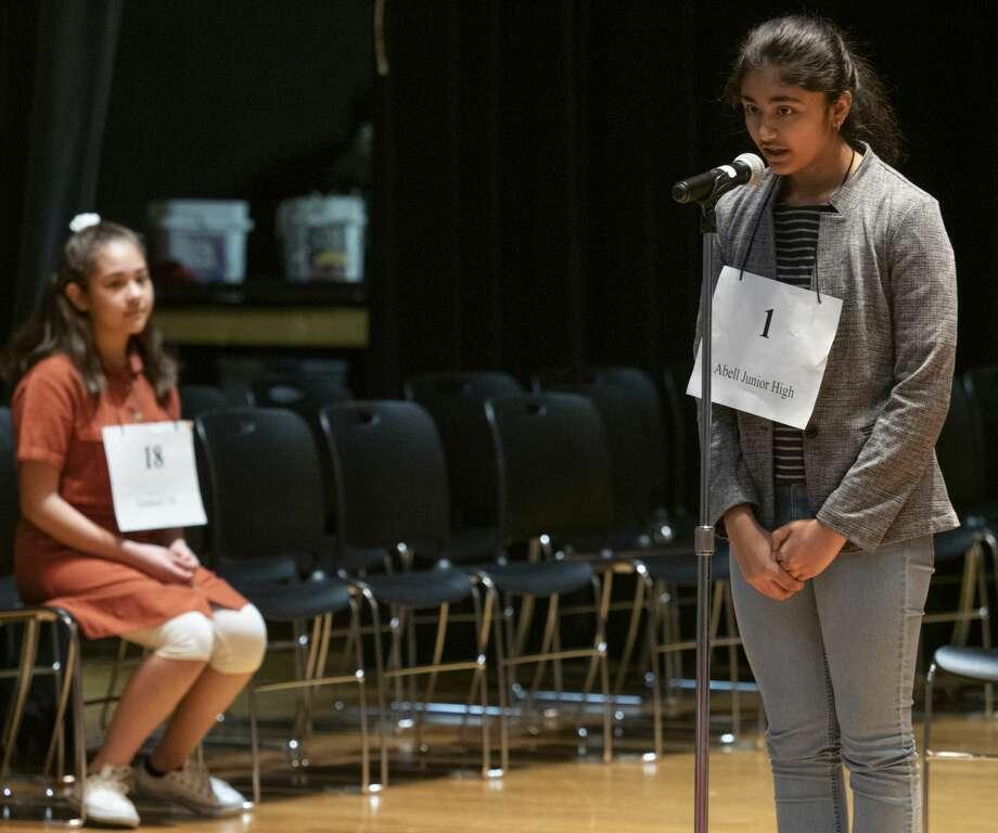 "Amulya Ganta from Abell Junior High, correctly spells ""futile"" 02/23/2019 to win the 32nd annual Spelling Bee.  Tim Fischer/Reporter-Telegram Photo: Tim Fischer"
