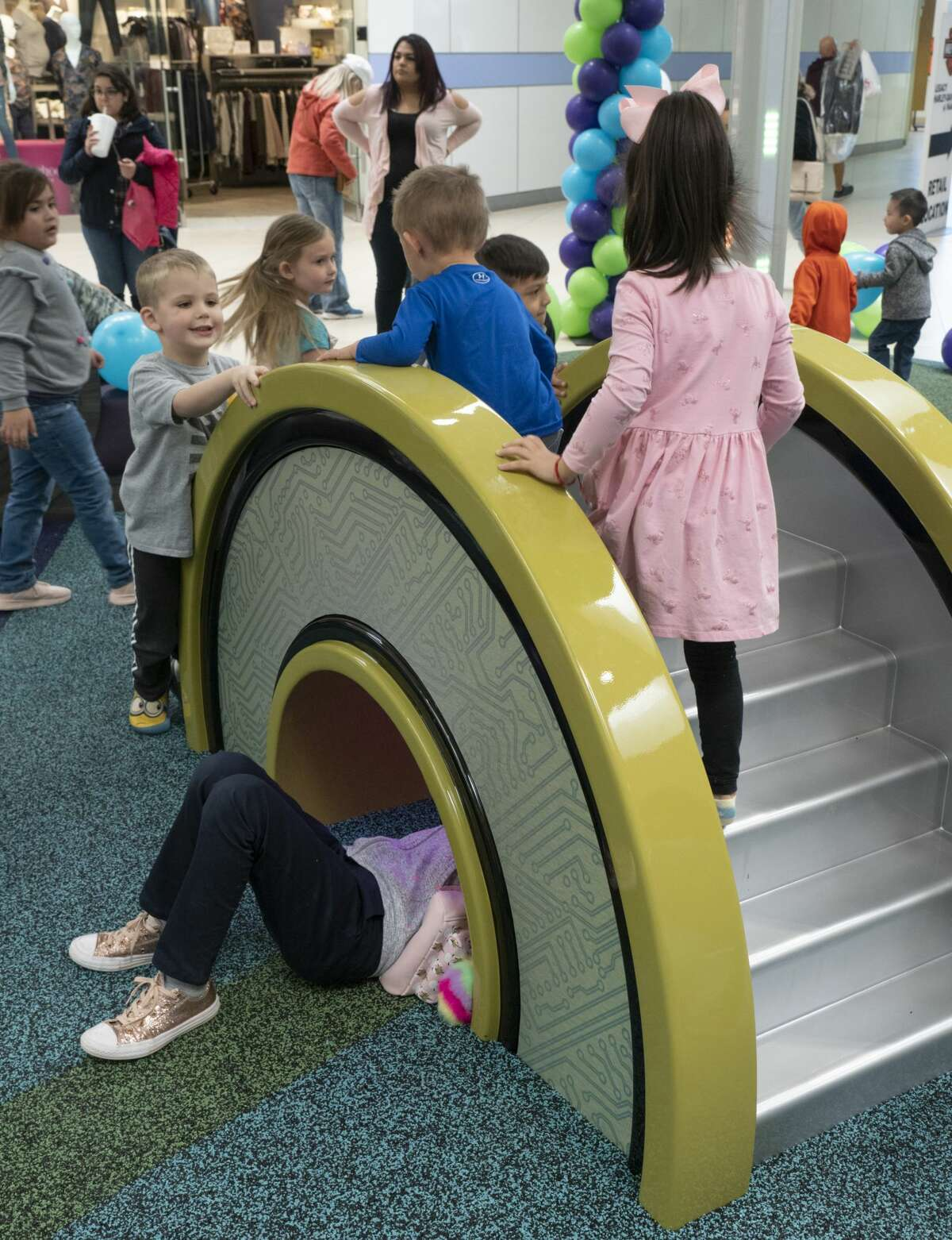 Children play on some of the climbing displays 02/23/2019 in the new play area in Midland Park Mall near JCPenny. Tim Fischer/Reporter-Telegram