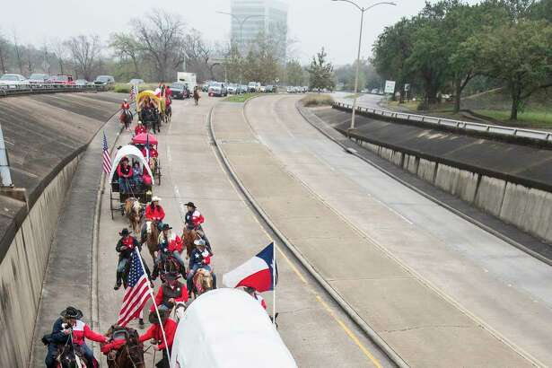 The Texas Independence Trail Ride travels along Allen Parkway as they make their way to Memorial Park to help kick off the annual Houston Livestock Show and Rodeo on Friday, Feb. 22, 2019, in Houston. Riders from 12 different trail rides traveled more than 1,300 miles combined to continue the tradition that started in 1952.