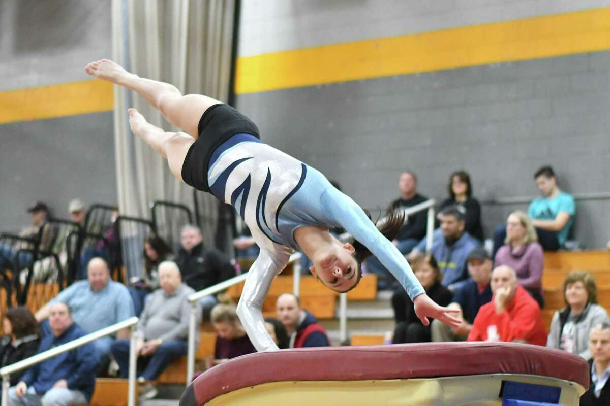 Jessica Olin of the Wilton Warriors competes on the Vault during the CIAC Class M Gymnastics Championships on Saturday February 23, 2019 at Jonathan Law High School in Milford, Connecticut.