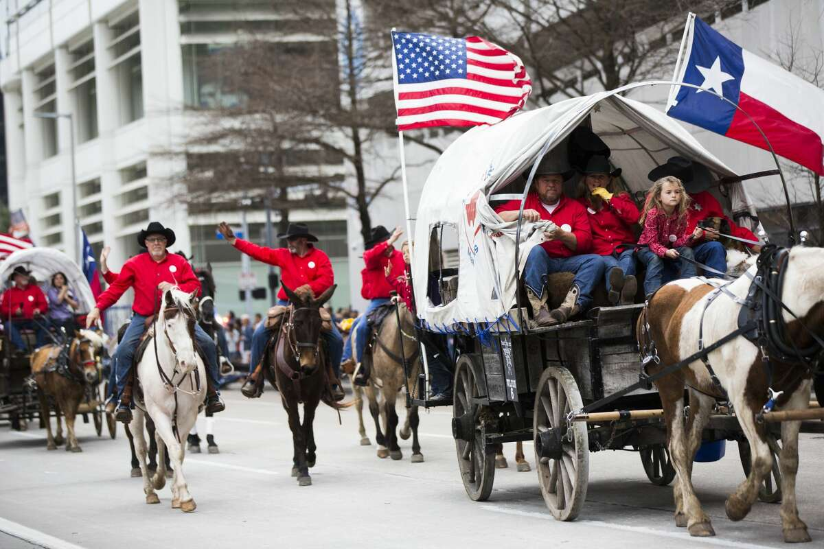 Texas Independence Trail Riders participate in the 2019 Downtown Rodeo Parade on Saturday, Feb. 23, 2019, in Houston.