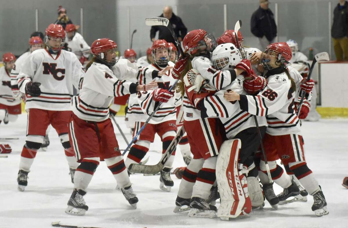 The New Canaan Rams celebrate after defeating Greenwich 3-1 to win the FCIAC girls hockey championship at the Darien Ice House on Saturday, Feb. 23.