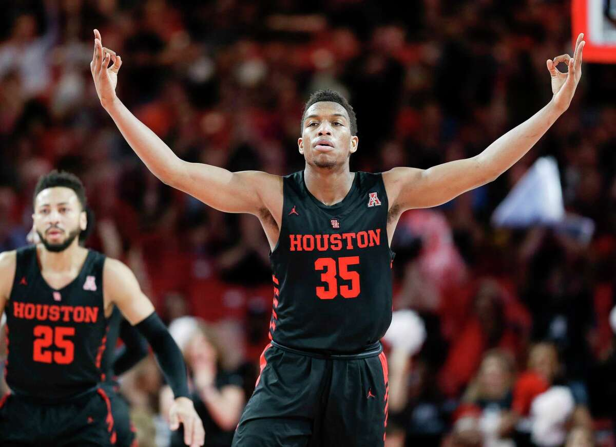 Houston Cougars forward Fabian White Jr. (35) reacts after a Cougars' three point basket during the first half of an NCAA college basketball game against South Florida, Saturday, Feb. 23, 2019, in Houston.