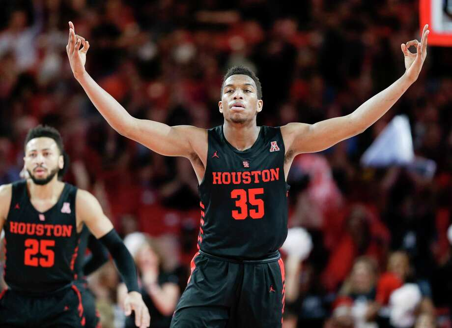 Houston Cougars forward Fabian White Jr. (35) reacts after a Cougars' three point basket during the first half of an NCAA college basketball game against South Florida, Saturday, Feb. 23, 2019, in Houston. Photo: Eric Christian Smith, Contributor