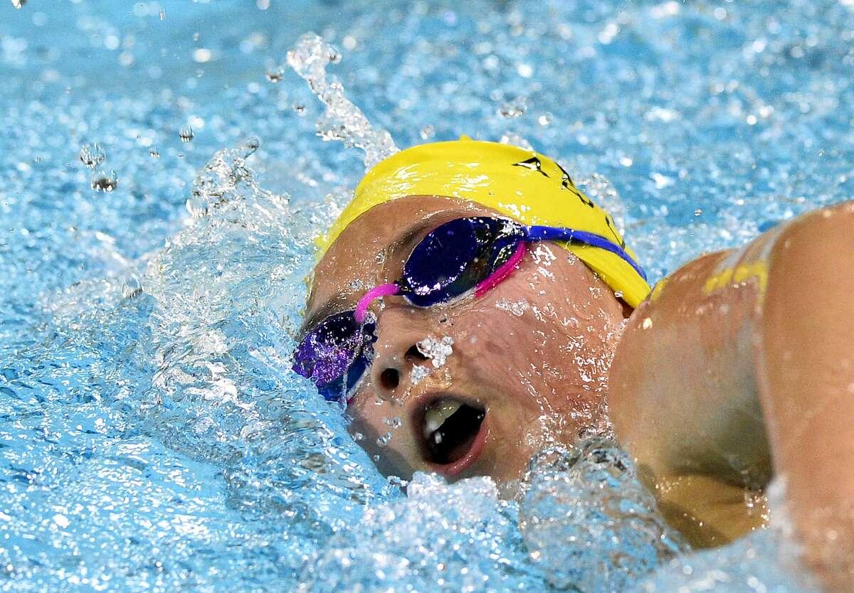 COM's Joanna Chavez competes in the West Texas Championships swim meet Feb. 22, 2019, at COM Aquatics. James Durbin/Reporter-Telegram