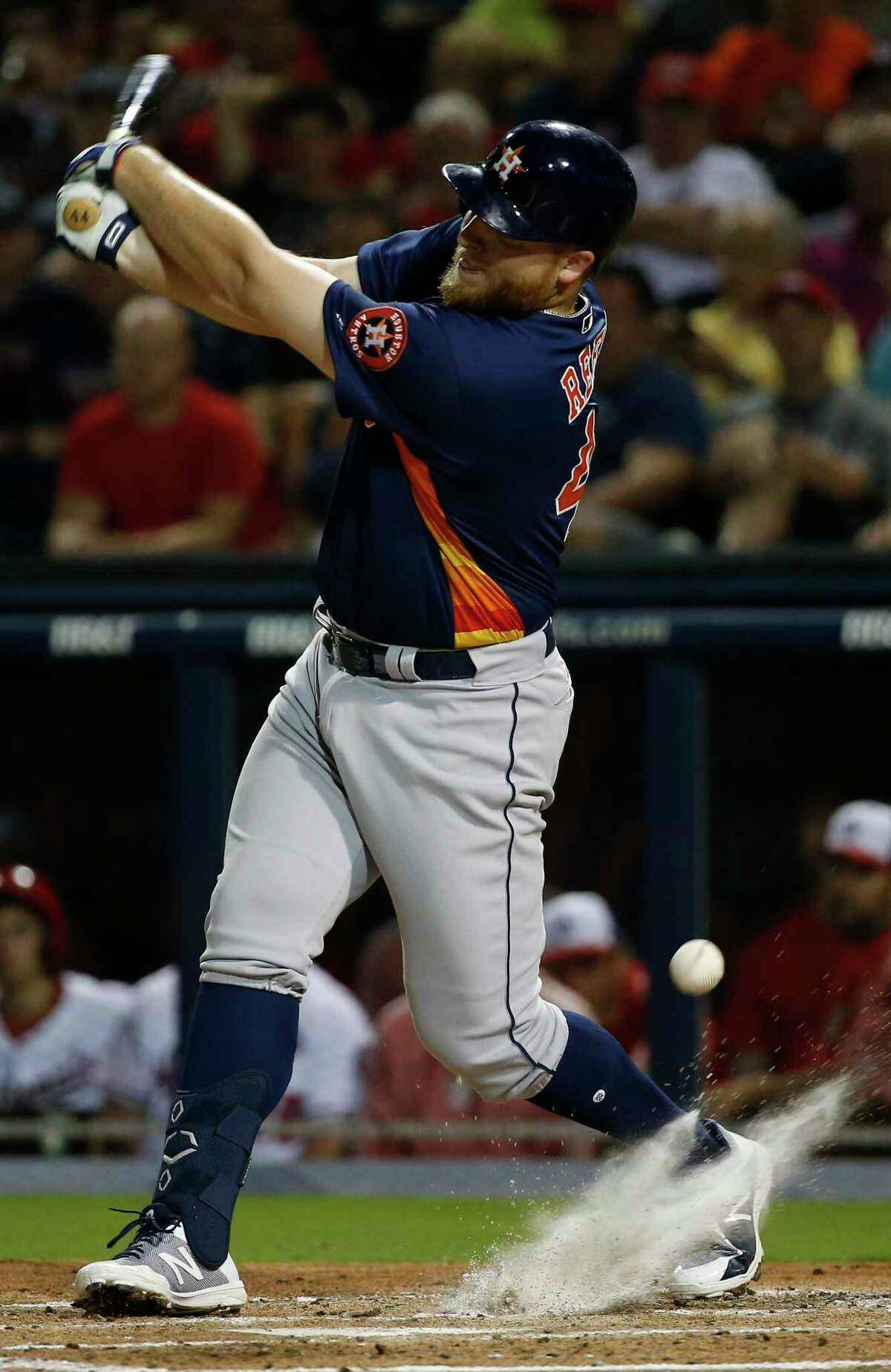 Houston Astros infielder A.J. Reed (44 ) at bat during the top second inning of the Houston Astros-Washington Nationals spring training opening game at Fitteam Ballpark of The Palm Beaches on Saturday, Feb. 23, 2019, in West Palm Beach.