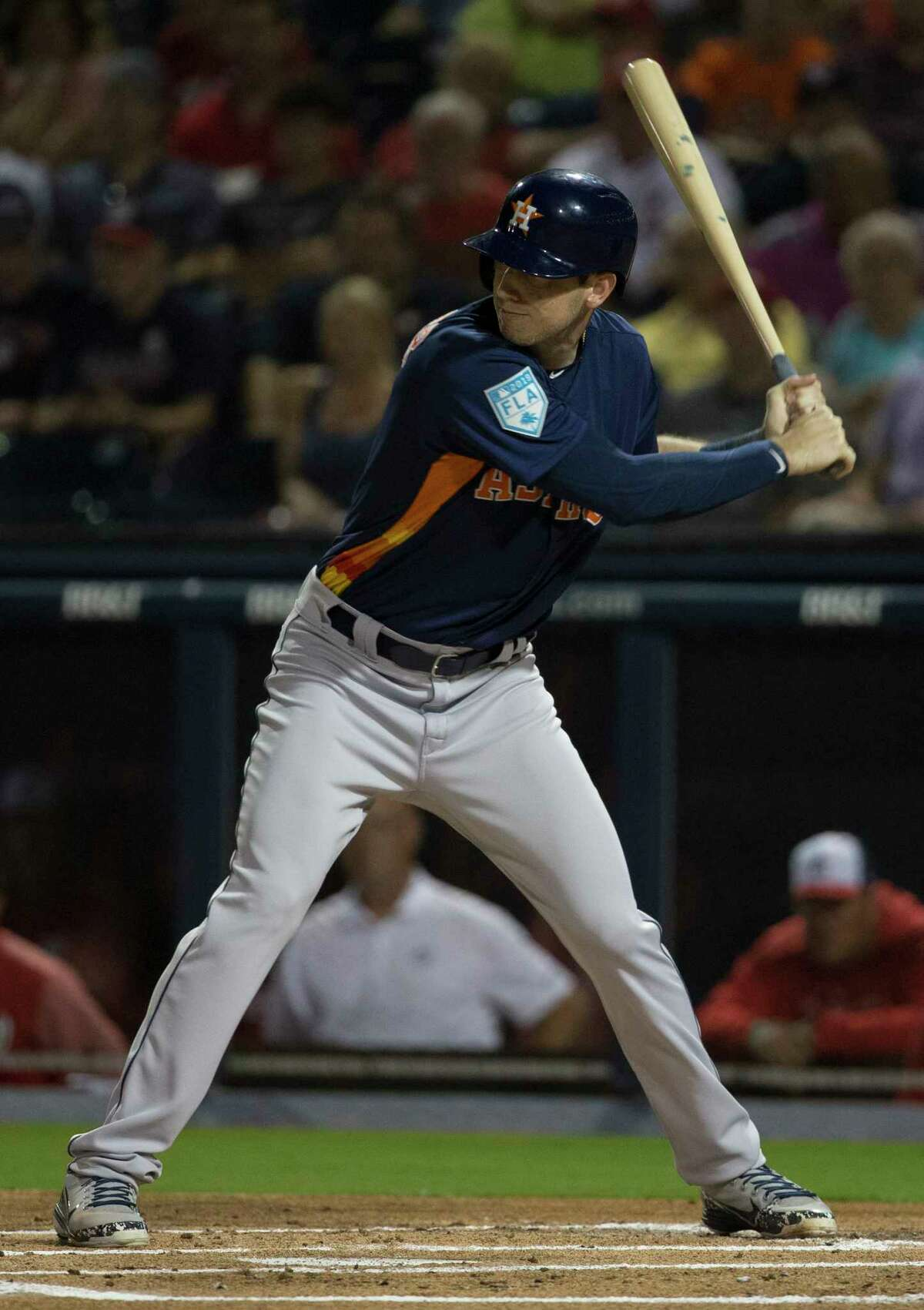Houston Astros outfielder Kyle Tucker (3) at bat during the top first inning of the Houston Astros-Washington Nationals spring training opening game at Fitteam Ballpark of The Palm Beaches on Saturday, Feb. 23, 2019, in West Palm Beach.