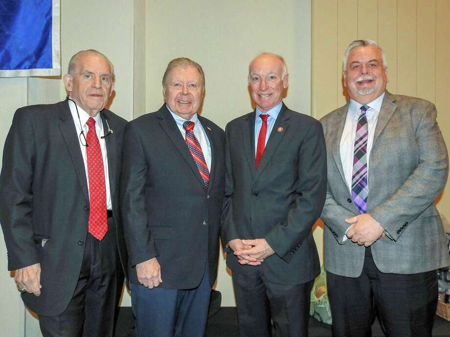 U.S. Congressman Joe Courtney was the keynote speaker at the Middlesex County Chamber of Commerce member breakfast Friday. From left are Chamber President Larry McHugh, Chairman Jay Polke, Courtney and Vice Chairman Don DeVivo. Photo: Contributed Photo