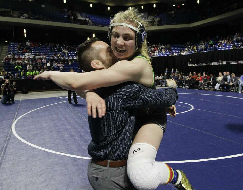 Hunter Robinson of College Park reacts after defeating Magdalena Meraz of Grand Prairie to win the Class 6A girls 148-pound finals. Photo: Jason Fochtman, Houston Chronicle / Staff Photographer / © 2019 Houston Chronicle