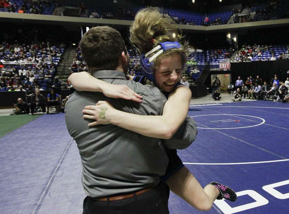 Amanda Mcaleavey of Cypress Creek reacts after defeating Adia Ronda of Keller Central to win the Class 6A girls 110-pound finals during the UIL State Wrestling Championships at the Berry Center, Saturday, Feb. 23, 2019, in Cypress. Photo: Jason Fochtman, Houston Chronicle / Staff Photographer / © 2019 Houston Chronicle
