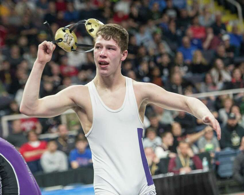 Duanesburg senior Zack Lawrence is the Division II, 152-pound class champion after beating Mike Squires, of Section IV Norwich, at the New York State High School Wrestling Championship on Saturday, Feb. 23, 2019. (Jim Franco/Special to the Times Union)