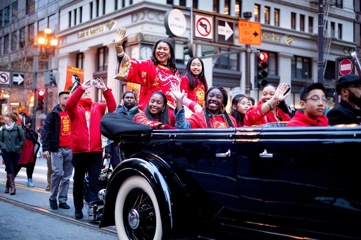 Mayor London Breed waves during San Francisco's annual Chinese New Year Parade on Saturday, Feb. 23, 2019.